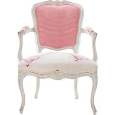Antique French Louis XV Chair (£620) ❤ liked on Polyvore featuring home, furniture, chairs, accent chairs, chair, home decor, pink, painted chairs, wooden chairs and stripe chair