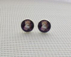 Gift For Her, cute cat Glass Dome Earrings Stud Post, Bridesmaid Gift, Perfect as gift for Best Friends