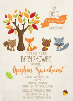 Invitetique - Sweet Woodland Friends Neutral baby Shower Invites, $18.99…