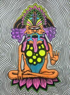 "fuckyeahpsychedelics: "" ""Good Vibrations"" by PGT-diabolical "" Psychedelic Art, Art Hippie, Lsd Art, Trippy Painting, Stoner Art, Dope Art, Visionary Art, Aesthetic Art, Art Inspo"