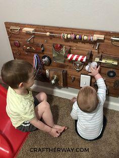 DIY Busy Board for Toddlers Diy Toys easy diy kid toys - # Diy Busy Board, Busy Board Baby, Toddler Busy Board, Kids Board, Baby Sensory Board, Toddler Activity Board, Sensory Wall, Sensory Boards, Toddler Crafts
