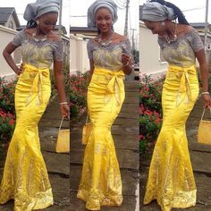Nigerian wedding yellow and grey