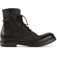 Marsèll lace-up boots (3.375 BRL) ❤ liked on Polyvore featuring men's fashion, men's shoes, men's boots, black, shoes, mens black leather boots, mens leather lace up shoes, mens leather lace up boots, mens leather boots and mens lace up shoes