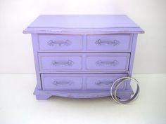 Jewelry Music Box  Purple Distressed  Shabby by GreenFoxStudio