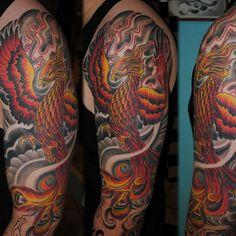 Phoenix, sleeve tattoo on TattooChief.com