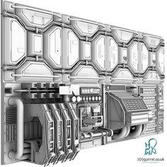Tusk's digital model study of a Sci-Fi Wall Panel Kit.A collection of 8 high definition sci-fi panels for use in an interior scene. Spaceship Interior, Futuristic Interior, Spaceship Design, Sci Fi Environment, Sci Fi Models, Modelos 3d, Retro Futurism, Sci Fi Art, Haircut Medium