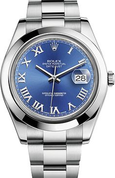 Rolex Date Just II Automatic Steel Men's Watch M116300-72210 BLU AZZOORO ROM at Ethos Watch Boutiques