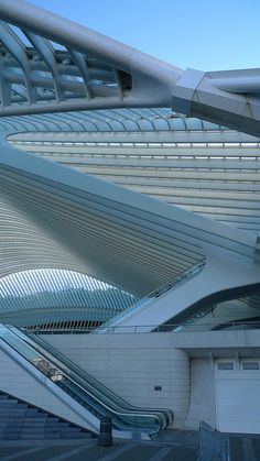 Liège-Guillemins Railway Station - Liege, Belgium. Connects the 3 stations in Liege and sees 15,000 passengers daily. Santiago Calatrava, Architect
