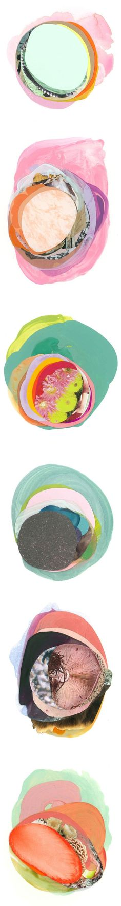"""You know how they say """"art feeds the soul""""… well, these deliciously layered, sandwich-like collages could feed me forever! / mixed media pieces by Austin based artist Xochi Solis /"""