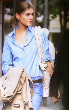 boyfriend shirt + denim + trench. classic