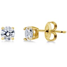 BERRICLE Gold Flashed Sterling Silver CZ Solitaire Stud Earrings 5mm... ($30) ❤ liked on Polyvore featuring jewelry, earrings, clear, stud earrings, women's accessories, sterling silver cz earrings, post earrings, clear earrings and yellow gold earrings
