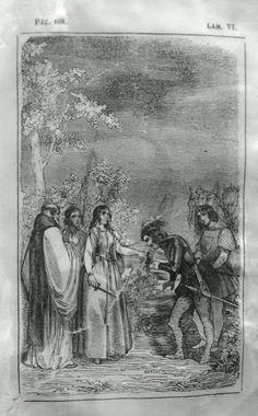 El Señor de Bembibre. Por Enrique Gil y Carrasco - (1844) Lámina VI... Doña Beatriz reunio las pocas fuerzas que le quedaban para tan doloroso momento y acercandose al caballero, se quito del dedo una sortija y la puso en el suyo diciéndole: - Tomad ese anillo prenda y simbolo de mi fé pura y acendrada como el oro; y en seguida cogiendo el puñal de don Alvaro, se corto una trenza de sus negros y largos cabellos que todavia caian desechos por sus hombros y cuello y se la dio igualmente. ...