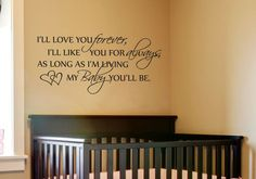 Ill Love You Forever Baby Nursery Quote Wall Decal Vinyl w Free Butterfly   eBay