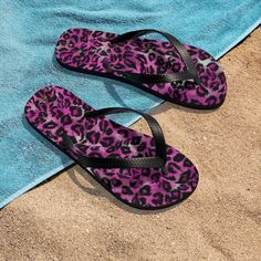 Pink Leopard Animal Print Unisex Flip-Flops Beach Pool Sandals- Made in USA Designer Flip Flops, Leopard Print Shoes, Beach Flip Flops, Flip Flop Shoes, Leopard Animal, Pattern Print, Print Patterns, Unisex, Usa