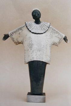 Pierrot Figur aus Raku Keramik. One of my early pieces - 1998