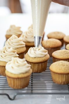 Delicious Homemade Maple Walnut Cupcakes #maple #walnut #cupcakes #dessert #recipe #fallbaking #maplecupcake #maplefrosting Maple Buttercream, Maple Frosting, Buttercream Frosting, Maple Cupcakes, My Favorite Food, Favorite Recipes, Types Of Desserts, Maple Walnut, Fall Baking