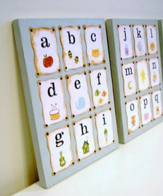 ABC Art: for the girls room-DIY you could also use flash cards on a canvas or picture frame