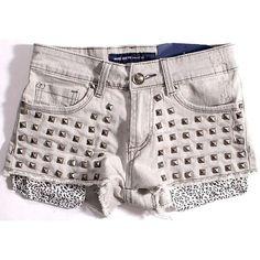 SUNDAY BEST 金属铆钉镶嵌朋克风格做旧灰色女式牛仔热裤超短毛边 ($18) ❤ liked on Polyvore featuring shorts, bottoms, pants, short and short shorts