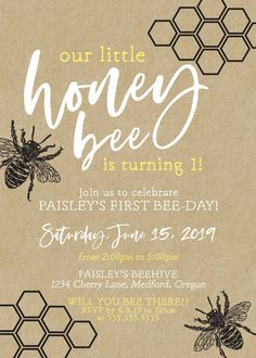 Rustic Honey Bee Birthday Party Invitation DIY Print or 50th Birthday Party Decorations, First Birthday Party Themes, Baby 1st Birthday, Birthday Party Invitations, Birthday Ideas, Bee Decorations, Bee Invitations, Grandpa Birthday, Paris Birthday