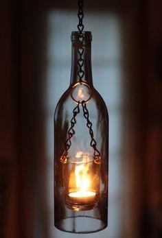 Wine bottle votive holder