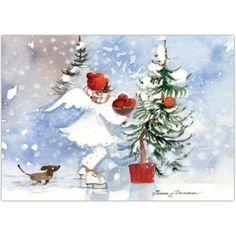 Omenakori ja enkeli, joulupostikortti