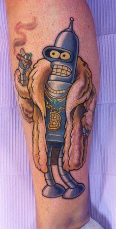 What does futurama tattoo mean? We have futurama tattoo ideas, designs, symbolism and we explain the meaning behind the tattoo. Dope Tattoos, Leg Tattoos, Body Art Tattoos, Tattoos For Guys, Sleeve Tattoos, Futurama Tattoo, Cartoon Character Tattoos, Cartoon Tattoos, Mermaid Tattoos