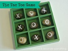 Fun camping craft - Tic Tac Toe! No cricut? You could use light colored rocks, and a sharpie marker!