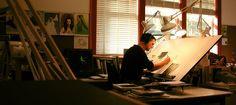 Iain Mcaig workspace at Skywalker Ranch.