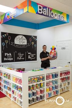 Dream Factory Balloons aims to take your next event to new heights while the balloons stay tight! Candy Store Design, Candy Store Display, Party Supply Store, Party Stores, Gift Shop Interiors, Flower Shop Design, Stationary Shop, Balloon Shop, Balloon Crafts