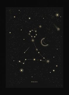Pisces zodiac constellation gold metallic foil print on black paper by Cocorrina constellation tattoo Pisces Constellation Pisces Star Constellation, Zodiac Constellations, Constellation Tattoos, Pisces Tattoo Designs, Pisces Tattoos, Zodiac Signs Symbols, Look Wallpaper, Astrology Pisces, Astrology Chart