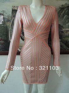 free shipping long sleeve silver bandage dress high quality sexy women  bandage dress v neck dress 5a8effbfa701