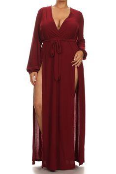 Plus Size Glamour Slit Tie Maxi Dress for the boudoir