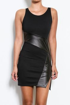 Lady in Leather Vegan Leather Panel Dress - Black