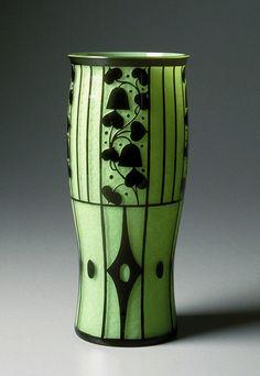 Josef Hoffmann vase, acid cutback frosted glass, 1912 *Vienna Secession* *Lecture: Figurative Art and Design* Glass Vessel, Glass Ceramic, Mosaic Glass, Glass Art, Ceramic Pottery, Motifs Art Nouveau, Glass Etching, Etched Glass, Art Deco Design