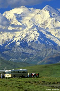 Tour Buses; Mt. McKinley from Stony Dome, Denali National Park, Alaska