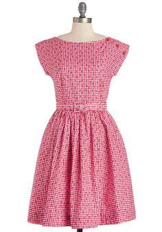 No Ifs, Ants, or Buts Dress by Bea & Dot - Red, White, Checkered / Gingham, Print with Animals, Buttons, Belted, Daytime Party, Fit & Flare,...