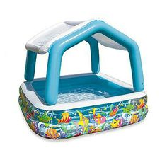 Kids will love splashing around on hot summer days and you'll feel relaxed knowing they're protected from getting too much sun. Inflatable pool features a detachable overhead shade that is helpful in protecting little ones' sensitive skin.