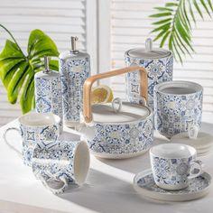 Novinka v našej ponuke - keramika Casa Decor s marokánskymi vzormi.  #keramika#porcelan#kuchyna#jedalen#moroko#marokanskevzory#vzory#orient Sugar Bowl, Bowl Set, Blue, Decor, Decoration, Decorating, Deco