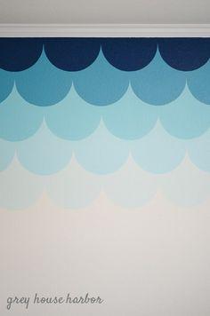 ombre scallop wall { a tutorial } Playroom Mural, Wall Murals, Playroom Ideas, Rose Bedroom, Girls Bedroom, Bedrooms, Room Colors, Wall Colors, Colours