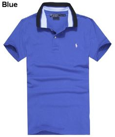 Ralph Lauren Men Striped Collar Pony Polo Shirts Blue