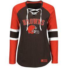 Cleveland Browns Majestic Women s Winning Style Long Sleeve T-Shirt -  Brown Orange dd375926b