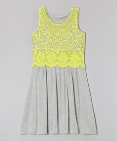 Another great find on #zulily! Heather Gray & Limelight Lace Overlay Tank Dress - Girls #zulilyfinds