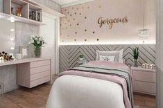 Girls Bedroom Design, Furnishings And Concepts - Home Ideaz Cute Bedroom Ideas, Girl Bedroom Designs, Awesome Bedrooms, Design Room, Room Decor Bedroom, Bedroom Furniture, Bedroom Lamps, Wall Lamps, Cozy Bedroom