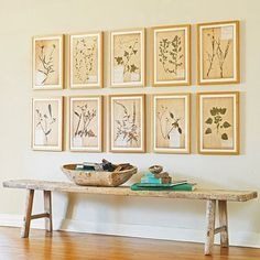 Inspiration: Unique Collection Displays | 8. Vintage prints on a theme — botanical, birds, boats, etc. — look fabulous arranged in matching frames and set on a grid. [Image via Wisteria]