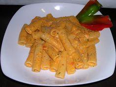 Tortiglioni con crema di peperoni