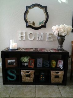 Better Homes and Gardens 8 cube storage unit used in entryway