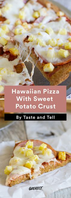 food - pizza - Hawaiian Pizza With Sweet Potato Crust.  8. Hawaiian Pizza With Sweet Potato Crust  #healthy #pizza #recipes http://greatist.com/eat/healthier-pizza-recipes-better-than-delivery