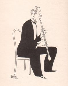 People of Note: The English Horn Written in 1940 by Laurence McKinney and illustrated by Gluyas Williams.    The English Horn I must reveal  Has no connection with John Peel;  In fact Old John would find it meaner  To play on than a vacuum cleaner.  Its tone would make his horses skittish  For it is neither horn – nor British.  Just where the doleful note emerges;  Imbued with melancholy surges  This makes an English Horn cadenza  Sound fearfully like influenza.