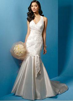 $174.49 : Unique Mermaid Trumpet Halter Taffeta Beaded Embroidery Wedding Dress