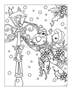 'birds on snow tree branch,mistletoe and lamp post.perfect christmas vintage colorable design' Greeting Card by SimiRaghavan Easter Coloring Pages, Cat Coloring Page, Coloring Book Pages, Coloring Pages For Kids, Christmas Coloring Sheets, Printable Christmas Coloring Pages, Christmas Colors, Christmas Art, Vintage Christmas